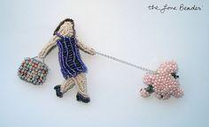 Beaded Lady Walking Dog Jewelry- Pink Pearl Poodle 2-Part Pin- C'est La Vie En Perles (Ready to ship). $275.00, via Etsy.