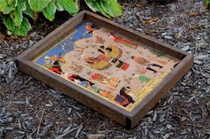 HANDMADE WOODEN TRAY, MINIATURE ART