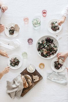 salad comes after dessert. photo by luisa brimble with sally boyle, emma duckworth, jj jenner and julia taylor.