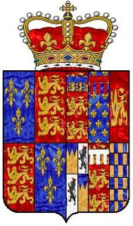 "Anne Boleyn's coat of arms: the Tudor coat of arms on the left half with the family coat of arms of her ancestors [distant and remote]. The Arms of Queen Anne are the first which exemplify the usage, introduced by Henry VIII, of granting to his Consorts ""Augmentations"" to their paternal arms. Quarterly of six: Duchy of Lancaster; Anjou-Naples; Aquitaine; Butler/Rochford indented; Thomas of Brotherton; and Warenne."