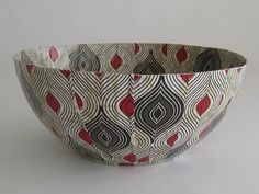 Decorative Paper Mache Bowl  African Decor   Art by africaohafrica