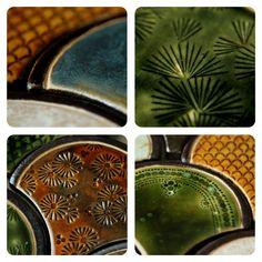 shell tiles by karolina-g.  kafle ceramiczne. wg planu - ozdoba nad kominek.   ceramic tile.  http://karolina-g.blogspot.com/2013/03/puzzle-nad-kominek.html