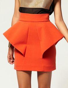 Orange Peplum Skirt.