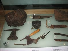 Medieval leatherworking tools from The London Museum