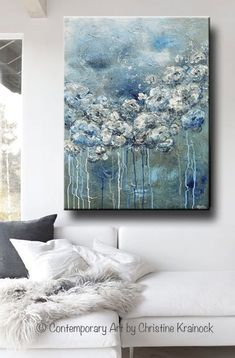 GICLEE PRINT Art Abstract Painting White Flowers Blue Grey Acrylic Painting Wall…