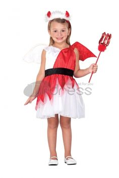 Naughty Angel White and Red Polyester Dress Kids Costume
