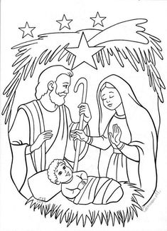 Nativity Coloring Pages, Printable Christmas Coloring Pages, School Coloring Pages, Bible Coloring Pages, Animal Coloring Pages, Christmas Printables, Coloring Books, Diy Nativity, Christmas Nativity