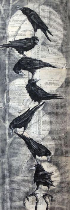 Folk art birds Fabrics is part of Fabric Bird Folk Art Etsy - Rook Stack II Charcoal on collaged card By artist Hannah Thomas Crow Art, Raven Art, Art And Illustration, Illustrations, Photo Animaliere, Crows Ravens, Art Sculpture, Medium Art, Art Drawings