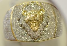 10K YELLOW GOLD 0.98CT DIAMOND LION HEAD RING