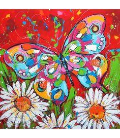 """Vrolijk Schilderij 100 x 100 schilderij """" Vlinder rood met bloemen """""""