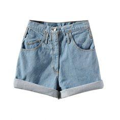 Chicnova Fashion Oversized High Waisted Denim Shorts ($14) ❤ liked on Polyvore featuring shorts, bottoms, chicnova, pants, jean shorts, high-waisted shorts, light blue high waisted shorts, highwaist shorts and denim short shorts