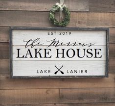 Lake house sign custom sign framed shiplap wood sign | Etsy