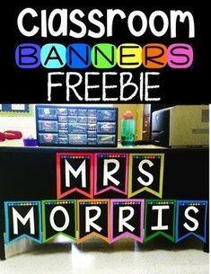 Classroom Banner Freebie by Kayse Morris - Teaching on Less Classroom Banner, Classroom Labels, Classroom Freebies, Classroom Organisation, Classroom Posters, Classroom Themes, Classroom Management, Teacher Freebies, Classroom Design