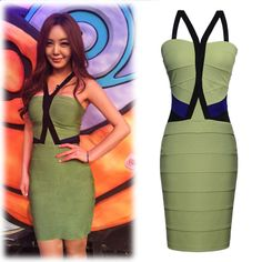 Womens Sexy Celeb Contrast-Waist Halter Olive Green Party Bandage Dress  Features: Intro: Bandage Bodycon dresses,sleeveless More Stretch Bandage Fabric, Cocktail Party Races Dress. Bodycon stretch Bandage Mini Dress Color:Khaki green Material: Spandex+Polyester Package:1 x Dress (other accessories on pictures are NOTincluded.)