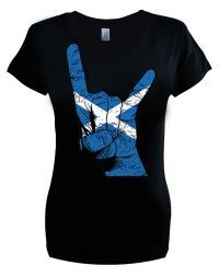Scotland Ladies Horns T Shirt.  Sizes S-2XL. Buy now from our SCM Facebook store.