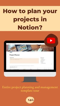 Youtube video with a walkthrough of my project planner template in Notion. Plan and manage your projects with a project planning template. Self Development, Personal Development, Project Planner Template, Morning Pages, Productivity Quotes, Printable Planner, Printables, Mindset Quotes, Personal Goals