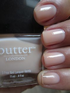 butter LONDON Bread & Butter Pudding is a VERY VERY VERY sheer pale beige jelly. This color is so sheer that the first coat looked as if I applied a clear base coat. It did build up a bit...after FOUR coats.