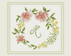 Cross Stitch Pattern - Anniversary - Cross stitch Birthday gift - Embroidery - Floral - Home Décor.  This is a digital Cross stitch pattern that you can instantly download from Etsy after purchase. Patterns include a full color chart with color symbols, a thread legend. The whole chart on one page, and also broken up into 4 pages (which makes the symbols easier to read). It also includes a full alphabet, to allow you to customise it to suit yourself.  PATTERN SPECIFICATIONS: Grid size - 102…