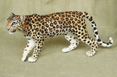 Needle felted Leopard poseable felted animal made to by Ainigmati