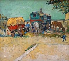 """""""Have a wonderful weekend, friends! #VanGogh of the Day: Gypsy Camp near Arles, August 1888. Oil on canvas, 45 x 51 cm. Musée d'Orsay, Paris.""""  Irena Podberezskaya (G+) from Minsk (BY), Belarus.  Her 8/25/17 post to followers of her """"History of Art and Architecture"""" collection.  https://plus.google.com/collection/8XKP2."""