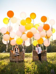 Balloon basket wedding photo / http://www.himisspuff.com/giant-balloon-photos/