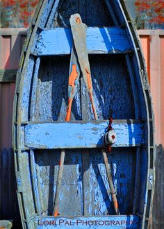 awesome old blue row boat