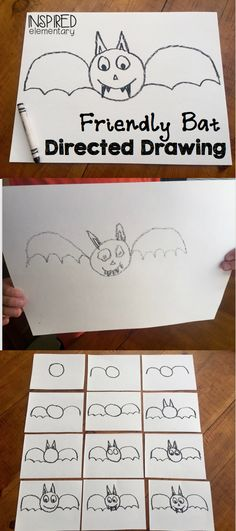 FREE Friendly Bat Directed Drawing! Guide students through these easy steps to making their own friendly bat!