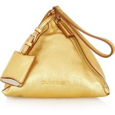 Jil Sander Metallic leather triangular clutch (€495) ❤ liked on Polyvore featuring bags, handbags, clutches, purses, jil sander, leather clutches, 100 leather handbags, metallic leather purse, real leather handbags and beige purse
