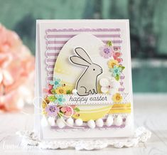 Happy Easter Card by Laurie Schmidlin for Papertrey Ink (February 2018)