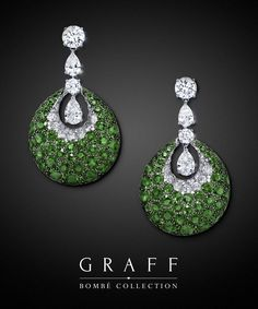 Bombé Earrings-Diamonds 10.90 cts, Emeralds 21.41 cts