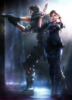 Chris Redfield & Jill Valentine from the 'Resident Evil' series of video games.