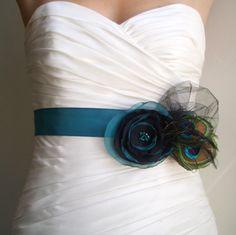 Wedding Sash Bridal Bridesmaid Belt with Peacock Feathers Teal Sash with Teal Black Chiffon Flower - Rhapsody. $78.00, via Etsy.