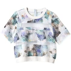 Rebecca Taylor Short Sleeve Enchanted Garden Pieced Blouse (13.650 RUB) ❤ liked on Polyvore featuring tops, blouses, shirts, crop tops, aqua combo, short-sleeve shirt, floral blouse, floral print shirt, crop shirts and crew shirt