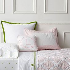 Serena and Lily pink and green mix and match. Love the diamond quilt and letter sham
