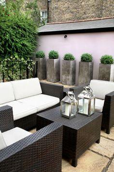 Contemporary Patio Set & planters