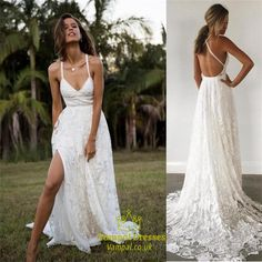 2019 Limor Rosen A-Line Spitze Brautkleider sexy Spaghetti Split Sweep Zug Riemen Vintage Garden Beach Boho Hochzeit Party Brautkleider - Spaghetti Strap Wedding Dress, Wedding Dresses With Straps, 2016 Wedding Dresses, Country Wedding Dresses, Perfect Wedding Dress, Wedding Dress Styles, Bridal Dresses, Wedding Gowns, Spaghetti Straps