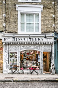 Biscuiteers is a cafe and shop selling biscuits and cookies in London's Nottin., Biscuiteers is a cafe and shop selling biscuits and cookies in London's Notting Hill. It's one of the prettiest cafes and shops in London. Oh The Places You'll Go, Great Places, Places To Travel, Beautiful Places, Places To Visit, London Places To Eat, London Eye, London City, Notting Hill London