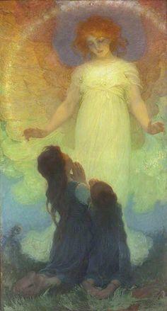 """The Guardian Angel"" (1911), By František Dvořák AKA: Franz Dvorak (1862–1927), Oil on Canvas; Goldsmiths, University of London, United Kingdom. Artist born in: Czech Republic. #angels     Artist Biography: http://www.daheshmuseum.org/portfolio/franz-dvorak-the-angel-of-the-birds/#.VcQpnPlVjIN Additional Background: http://pictify.com/912566/books-and-art-thoughtful-reader-1906-frantiek-dvok-born"
