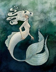 This is a print of White Mermaid, an original ink and watercolor illustration.    Its printed on thick, matte recycled card stock with a quarter-inch