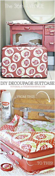 Hier sind 12 unglaubliche Ideen dazu, wie du aus einem alten Koffer etwas Einzigartiges zaubern kannst  -  DIY Découpage Koffer