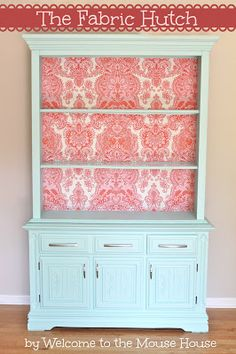 Fabric Hutch: Removable Fabric Wallpaper The Fabric Hutch: Furniture Redo.different colors and it'd be great for dining room!The Fabric Hutch: Furniture Redo.different colors and it'd be great for dining room! Decor, Furniture, Redo Furniture, Painted Furniture, Refinishing Furniture, Home Decor, Repurposed Furniture, Furniture Rehab, Furniture Inspiration
