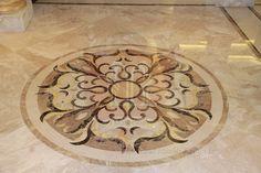 Marble Fleur De Lis Floor Medallion For The Foyer