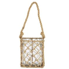 """A&B Home 7"""" Glass Candle Holder W/Jute And Metal Basket - Set Of 2 – Modish Store"""