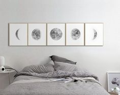 Large Moon Phases Prints, Set of 5 watercolor Lunar Phases Moon art Print, Grey Black Watercolor Prints Home Decor