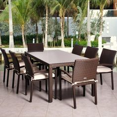 Cape 9-Piece Wicker Rectangular Patio Dining Furniture Set  really love this one- but it's a fortune!