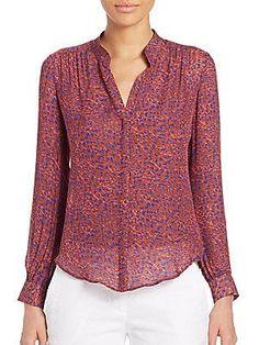 L'AGENCE Bianca Band Collar Silk Blouse - Mauve Iris Combo - Size
