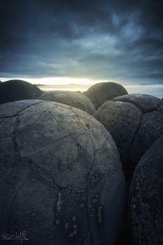Light through the Rock--Moeraki Boulders - New Zealand