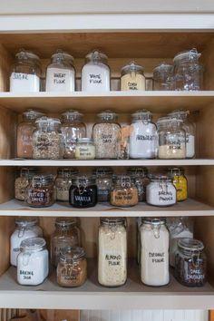 cupboard organization Organized Baking Cupboard, Glass Food Storage, Pantry Items, Air Tight Glass C Baking Storage, Baking Organization, Kitchen Cupboard Organization, Pantry Cupboard, Kitchen Cupboards, Food Pantry Organizing, Pantry Shelving, Organisation Ideas, Shelves