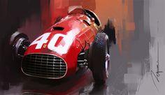 Ferrari 375 by Mike Kim Car Design Sketch, Car Sketch, Car Illustration, Illustrations, Vintage Racing, Vintage Cars, Automobile, Photo D Art, Garage Art