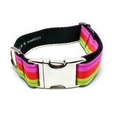 Mattie & Margot Green/Orange/Pink Tri-Stripe Dog Collar From $31.95